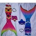 Custome 7 шт./компл. хвост русалки для девочек для плавания с моноластами купальный костюм русалки для детей летний праздник на заказ