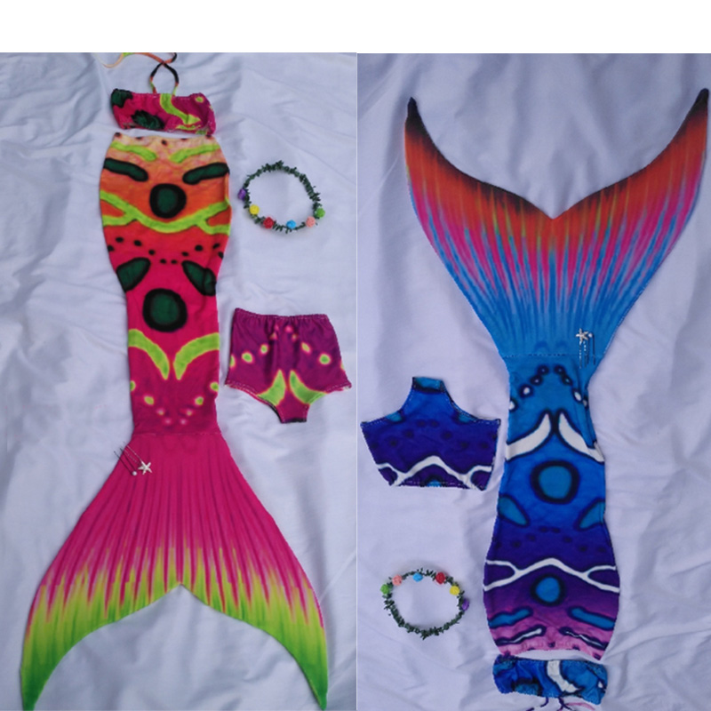 Queues de sirène de filles de 7 pièces/ensemble personnalisées pour nager avec des maillots de bain de sirène de Monofin pour des vacances d'été faites sur commande d'enfants