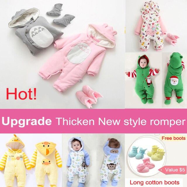 Цельный детская боди новорожденных мальчиков девушки с капюшоном 100% хлопок утолщение пижамы осень зима рождество платье