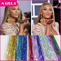 16Inch BellaVia Tinsel  3D Rainbow Clip In Hair Extensions Shinny Hair Extension Bling String Highlight Party Hairpiece