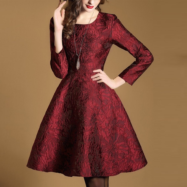 2017 New Spring Thin Red Dress Evening Party Vestido Casual Jacquard A-line Embroidered Knitted Long Sleeve Sexy  Print вечернее платье red evening dress vestido sexy long evening dress