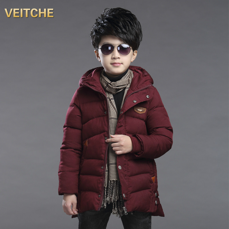 Children's Clothing Kids Winter Cotton-padded Jacket 2017 New Patchwork Cotton Wadded Outerwear Boys Warm Thicken Hooded Coat boys winter jacket cotton padded fur collar hooded long kids outerwear coat thicken warm boy winter coat children clothing