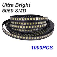 1000pcs led smd 5050 White Smd Smt 3-chips Led Super Bright Lamp Light-emitting Diodes SMT Bead 16-18lm white Red Green Blue