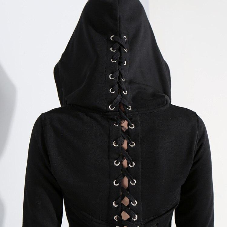 Capuchon 2019 À Frais Jg952 Marée Manches Femmes Court Noir Black Printemps Sweat Longues De Bandage Creux Nouveau Mode Out Croix eam wIdtqI