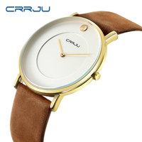CRRJU Japan Famous Brand Popular Quartz Men Watches Elegant Dress Big Dial Relogio Casual Genuine Leather