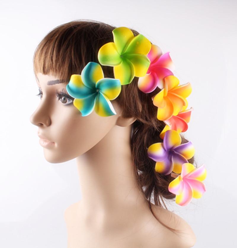 7cm Foam Hawaiian Plumeria Flower Frangipani Flower Clips Nice Bridal DIY Hair Accessories Wedding Hairpins Multiple Colors