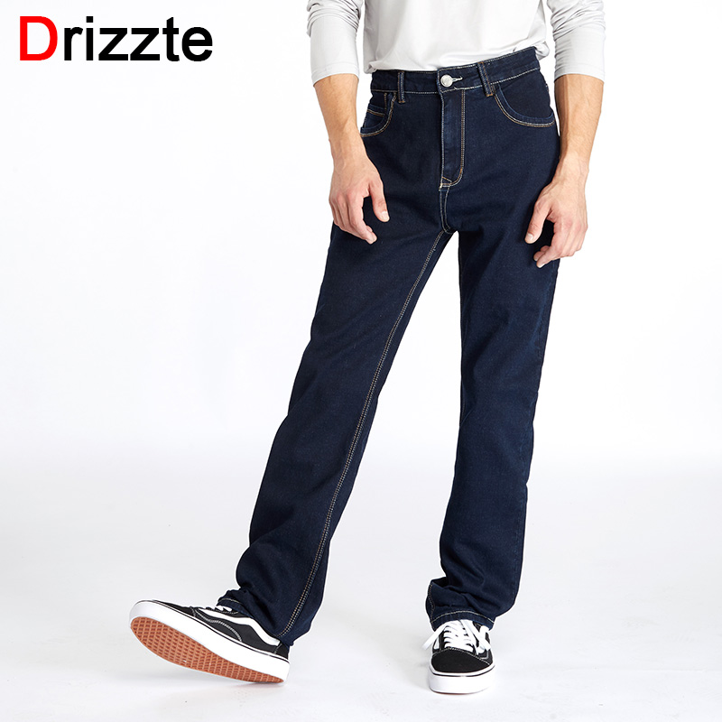 Drizzte High Waist Loose Straight Mens Stretch Blue Denim Jeans Brand Pants Plus Size Big and Tall Man Jeans for Big Man men s large size jeans wide leg denim pants loose skateboard straight trousers big mens relaxed harem jeans grey blue 30 46