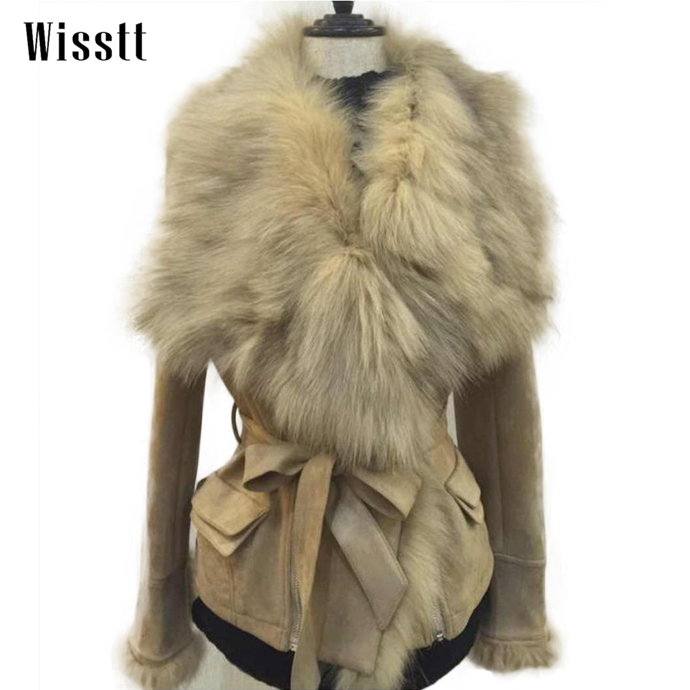 WISSTT Luxury jacket women women fashion real fox fur collar jackets slim faux leather suede zipper sashes jacket outerwear