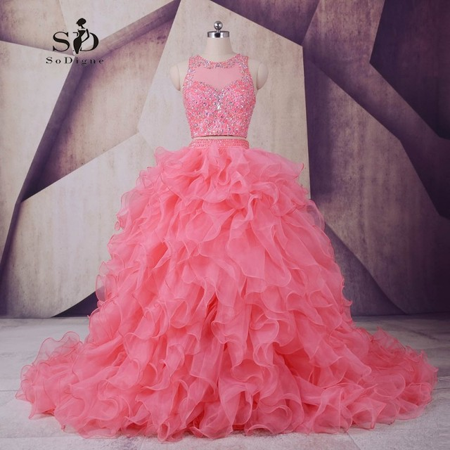 SoDigne Beautiful Dresses for teens Two Pieces Puffy Dress Beaded ...