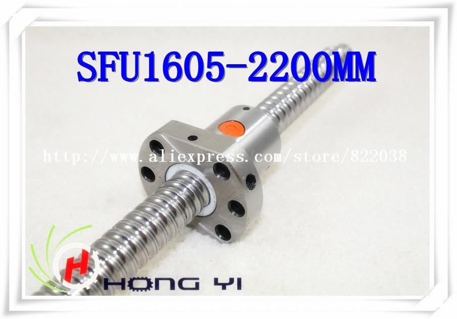1 X SFU1605 Ball screw L = 2200mm + 1pcs Ballscrew ballnut for CNC and BK/BF12 standard processing top best price 1pcs ball screw sfu1605 l2550mm 1pcs rm1605 ballscrew ballnut for cnc and bk bf12 standard processing