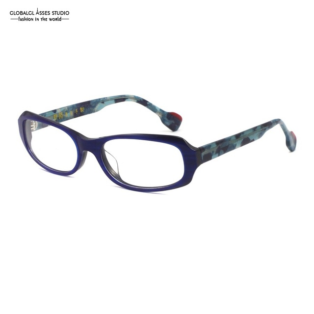 98873ba8950 Oval Lens Handmade Glasses Frame Women Blue Color Red   Navy Color Mix  Camouflage Temple Spectacle Frame CQ-102 C4