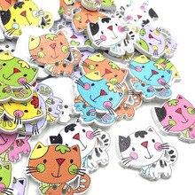 10/50/100 шт микс деревянных кнопки кошка Ремесло Скрап пошива аппликации 24 мм WB412