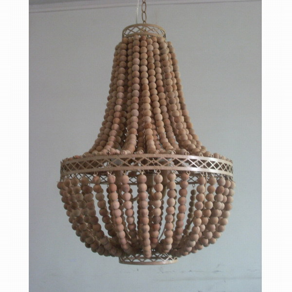 Free Shipping Vintage Rustic Wooden Bead Chandelier Hanging Lamp World Market Large Wood Pendant In Lights From