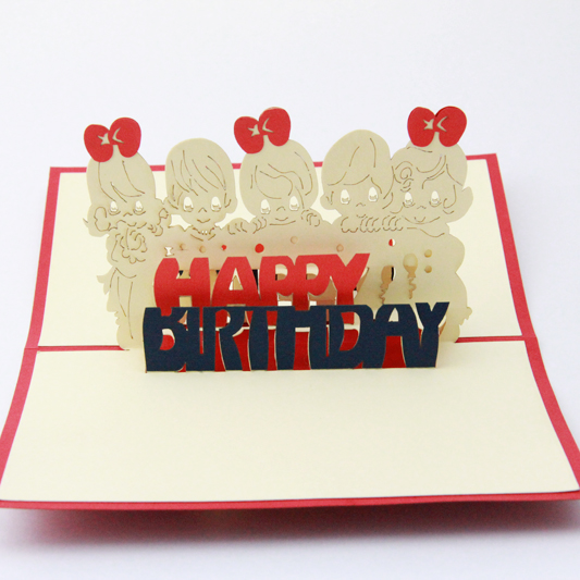 Boy and girl blessing card/3D  kirigami card/ handmade greeting birthday  cards gift