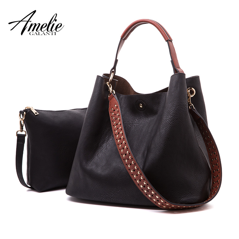 AMELIE GALANTI women large capacity handbag hobo shoulder purses tote bags Soft PU 2 bags in 1 women hobo shoulder purses amelie galanti ms backpack fashion convenient large capacity now the most popular style can be shoulder to shoulder many colors
