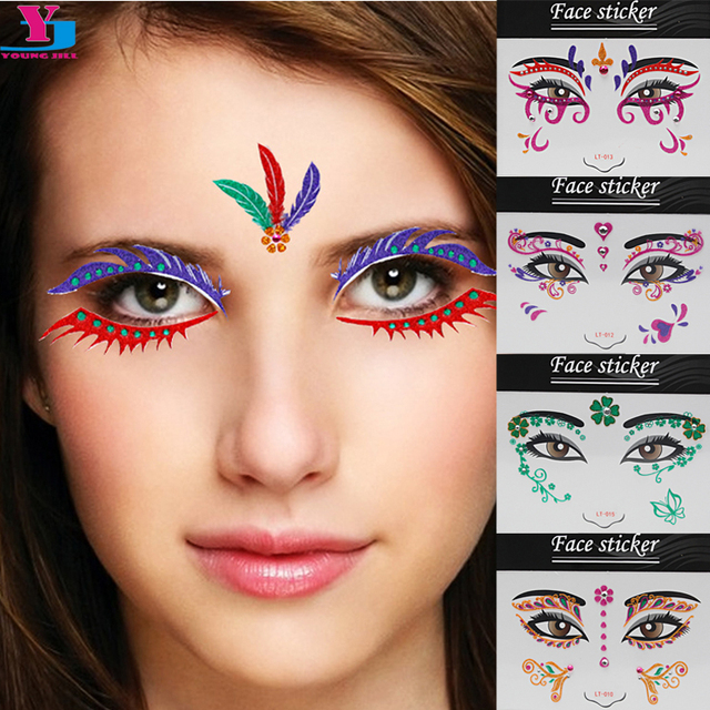 5pcs temporary tattoo stickers 3d sexy body art water for Face tattoo makeup