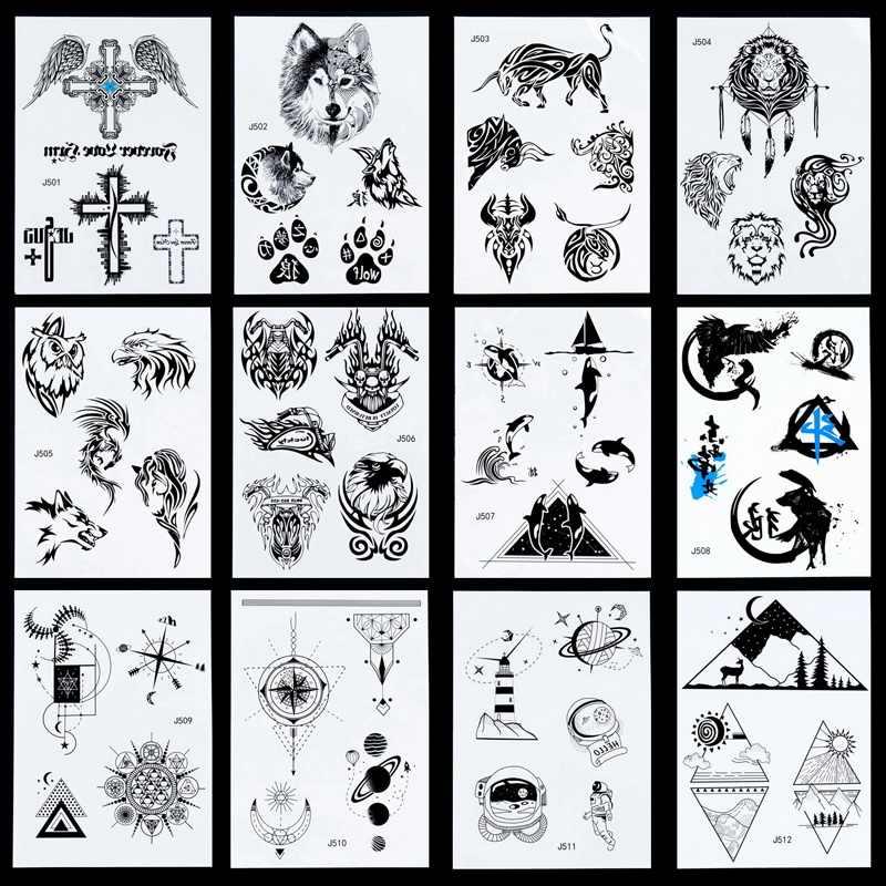1 sayfalık çok stilleri 24 modelleri kol kol geri geçici dövme etiket kızlar evren toprak uzay gezegen bilezik siyah tatuagem