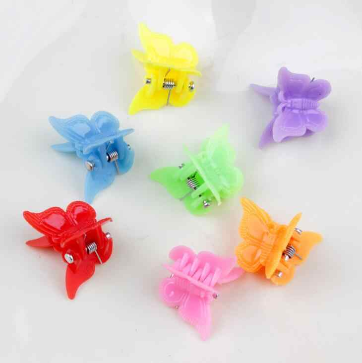 20 pcs/lot Mix Color Crab Flower Butterfly  Heart Hair Claw Shell Plastic Mini Hairpin Star Clip Barrettes For Girls Accessories