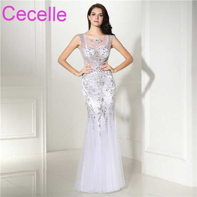 White Mermaid Long 2018 Prom Dresses Heavily Beaded Top Sheer Back ...