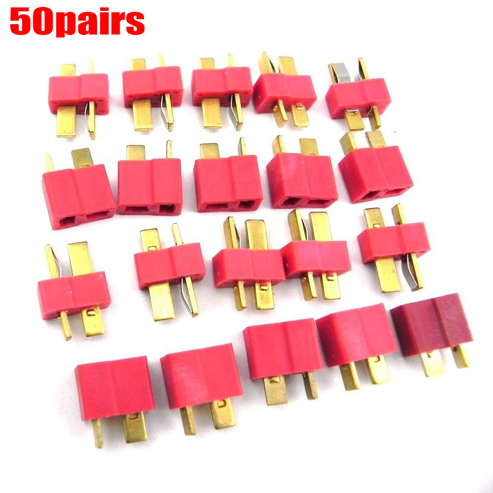 100pcs 50Pairs T Plug Connectors Male Female hv3n for Deans RC Lipo Battery Helicopter 15425[rf connectors coaxial connectors n clamp angle plug mr li