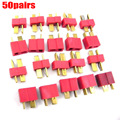 100pcs 50Pairs T Plug Connectors Male Female hv3n for Deans RC Lipo Battery Helicopter