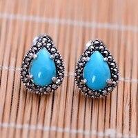 Оптовая Продажа 925 стерлингового серебра тайский серебро Природный камень женский серьги xh052569