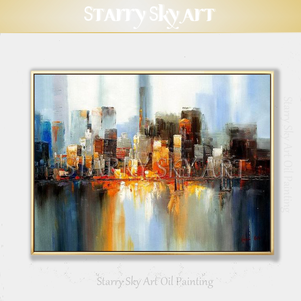 New Arrivals Hand painted High Quality Modern Abstract City Building Oil Painting on Canvas Textured Knife City Art Oil Painting