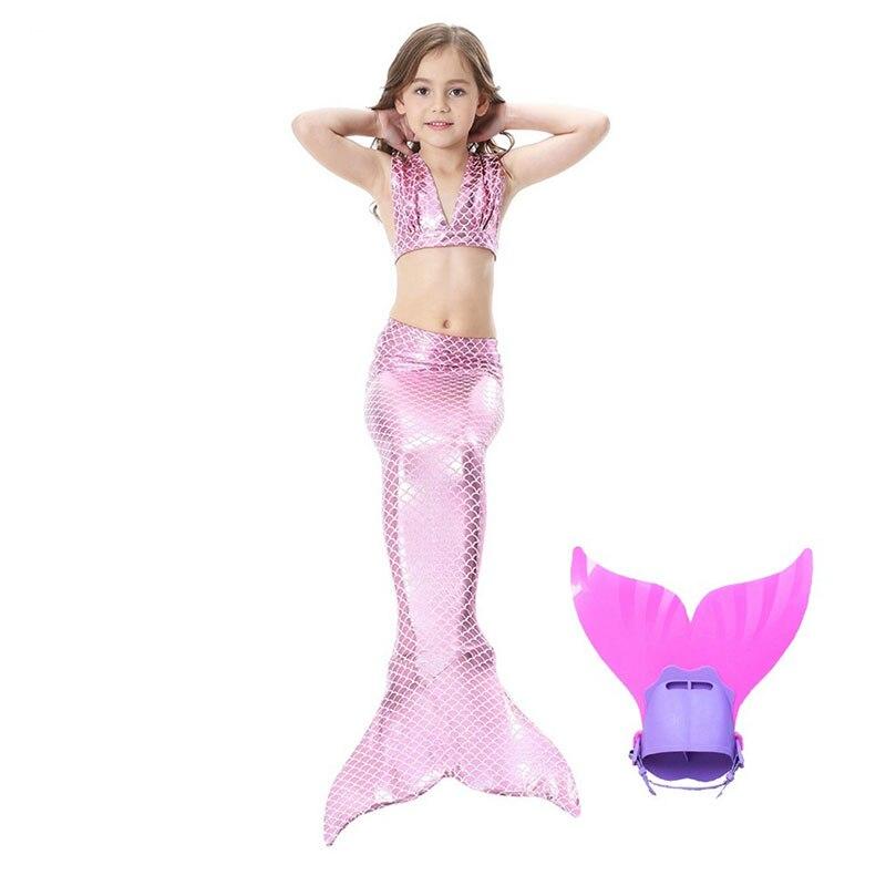 Mode été petite fille plage vêtements enfants sirène haut rose Bikini maillot de bain enfants Cosplay Costume sirène queue Monofin
