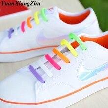 лучшая цена 16Pcs/lot Elastic Silicone Shoelaces Kids Unisex Adult Athletic Running No Tie Shoelace Sneakers Fit Strap Shoe Laces Wholesale