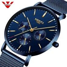 NIBOSI Herren Uhren Schlanke Mesh Wasserdichte Minimalistischen Armbanduhr Für Männer Quarz Sport Uhr Ultra Dünne Uhr Relogio Masculino