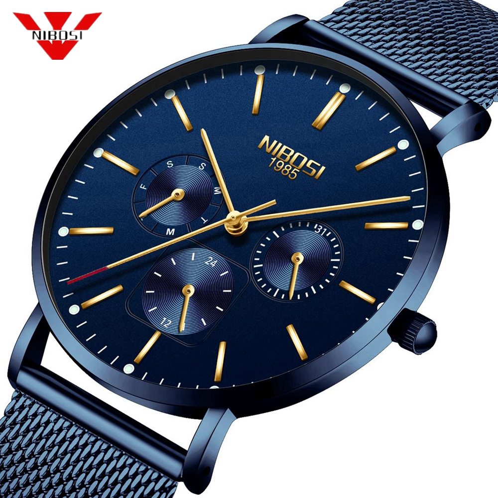 NIBOSI Mens Watches Slim Mesh Waterproof Minimalist Wrist Watch For Men Quartz Sport Watch Ultra Thin Clock Relogio Masculino