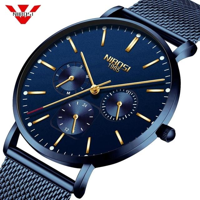 NIBOSI montre bracelet minimaliste pour hommes, mince, en maille, étanche, à Quartz Sport, Ultra mince