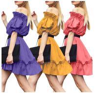 new women chiffion dress summer butterfly sleeve off shoulder party dress short sleeve short mini dresses slash neck