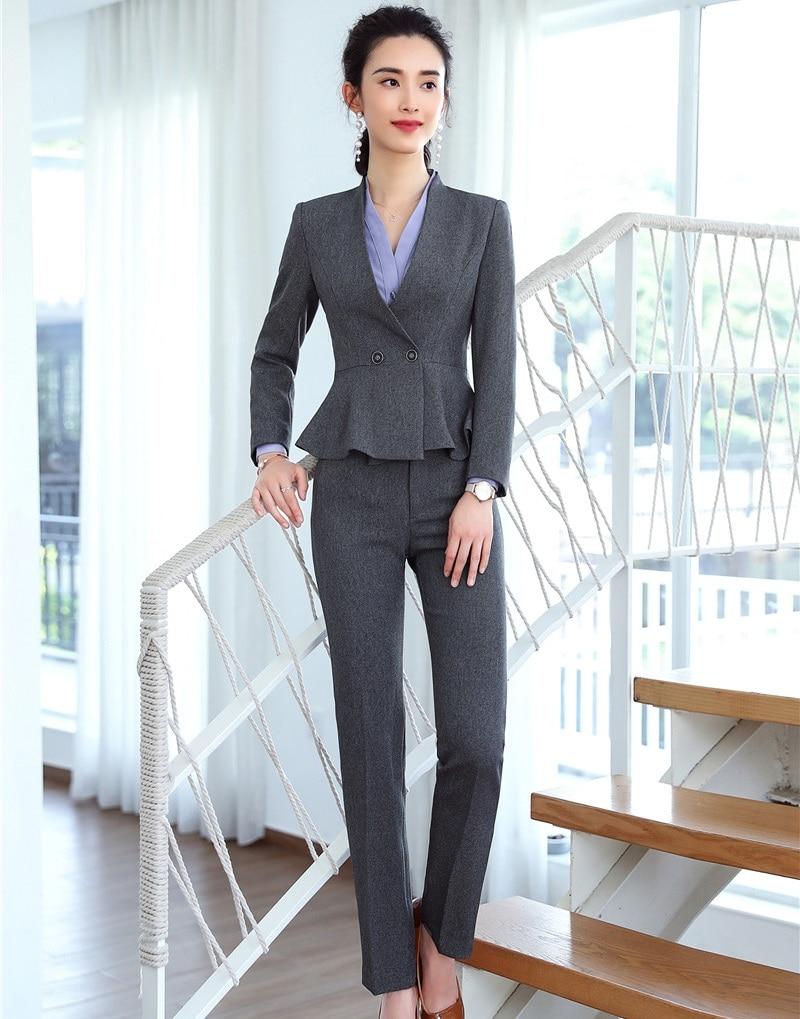 804b52541eee71 Femmes Et Bureau D'affaires Vestes Blue Avec Dames Pantalon Costumes ...