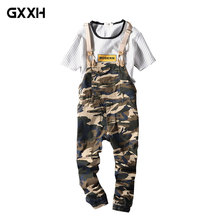 2018 Men's and women's Summer Nine Points Bib Couple Casual Camouflage Siamese Straps Feet pants Fashion Pockets Overalls XXXL