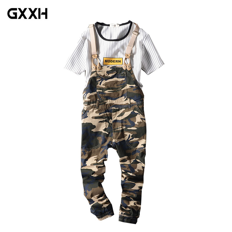 2019 Men s and women s Summer Nine Points Bib Couple Casual Camouflage Siamese Straps Feet