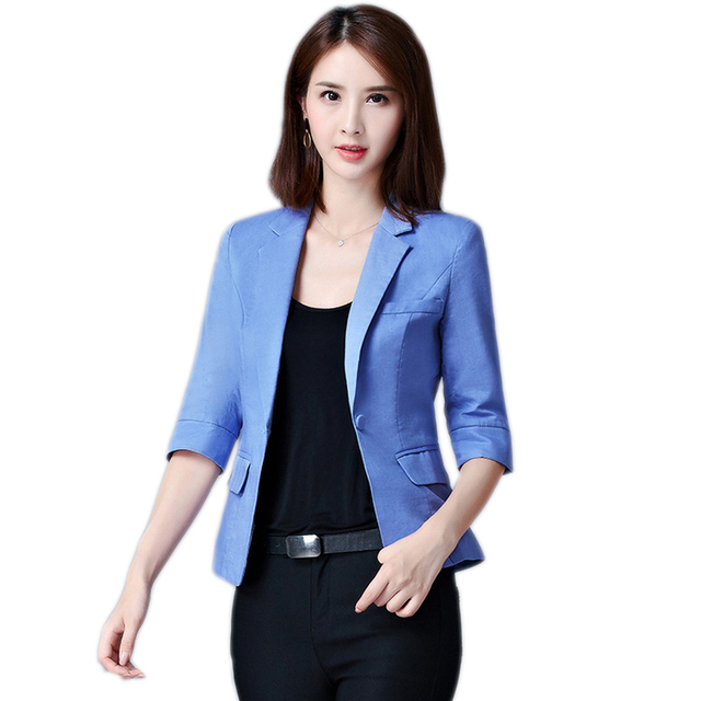 9d769f98360 OL Small Suit Coat Female Fashion Summer Korean Women Jacket Casual Suit  Short Style Cotton And Linen Suit Jacket Female. 1 order