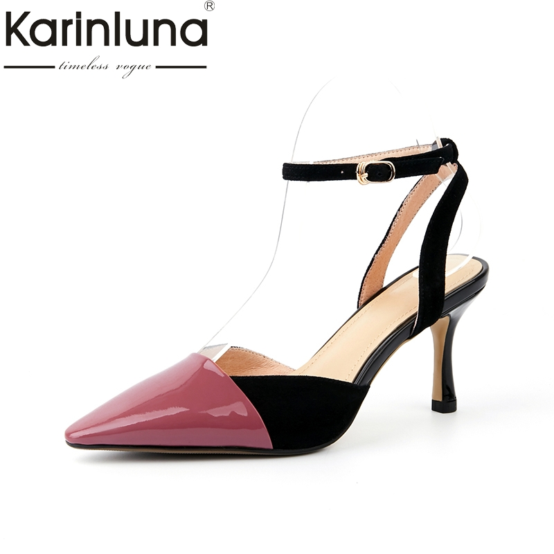 KarinLuna 2018 genuine leather buckle strap pointed toe women shoes woman thin High Heels Pumps women Size 34-39 women pumps flock high heels shoes woman fashion 2017 summer leather casual shoes ladies pointed toe buckle strap high quality