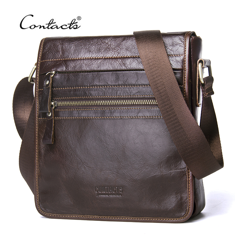 CONTACT'S New Fashion Genuine Leather Man Messenger Bags Cowhide Male Cross Body Bag Casual Men Commercial Briefcase Bag