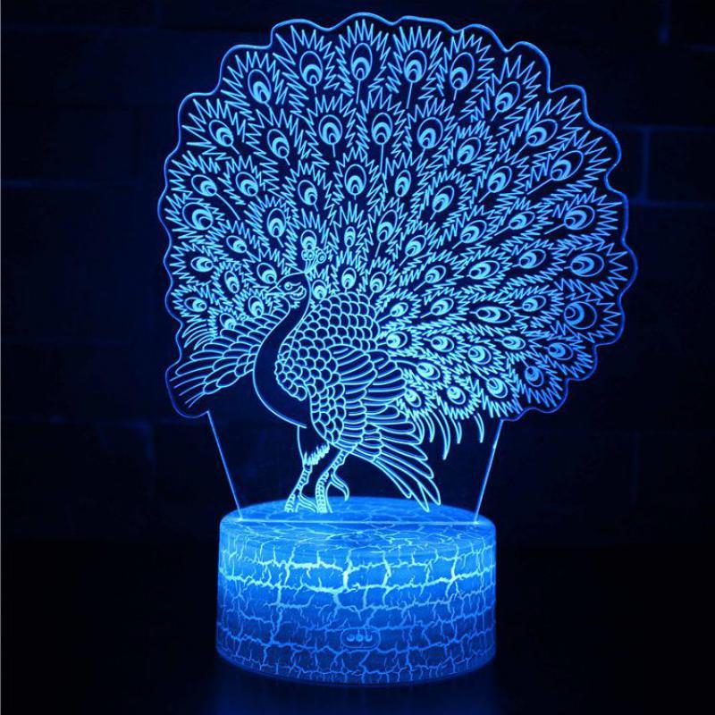 Peacock Owl Party Decoration 3d Lamp Christmas Decorative Lights Lovely Cartoon Children's Room Decoration 3D Nightlight