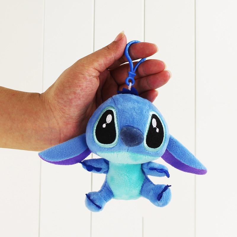 10cm Lilo Stitch Kawaii Stitch stuffed Plush figure keychain pendant accessory font b toy b font
