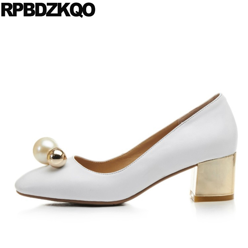 Pearl 2017 Metal Pumps White Party Medium Prom Shoes Size 4 34 Square Toe Women China High Heels Block Autumn Chinese Spring selens pro 100x100mm 12nd square medium
