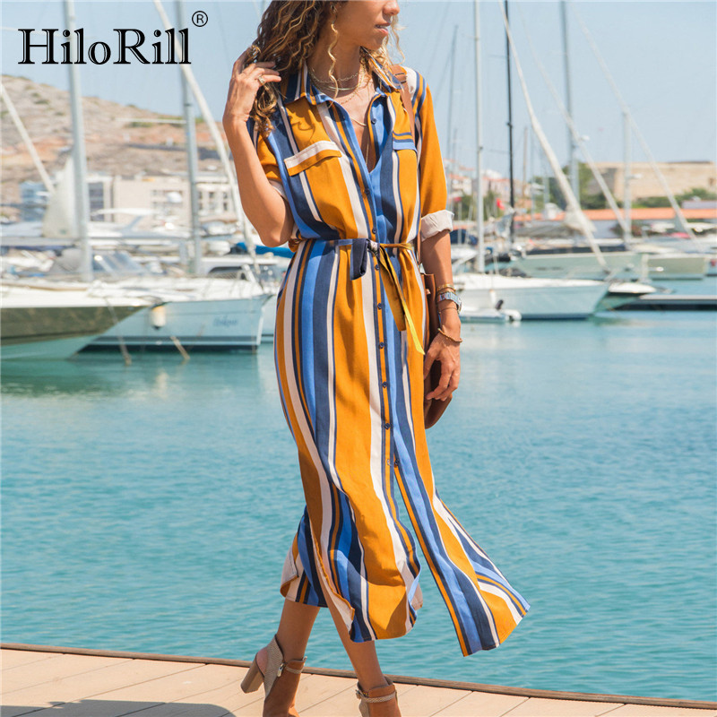 Summer Beach Chiffon Long Dress Women Striped Shirt Dress 2019 Casual A Line Long Sleeve Midi Holiday Party Dresses Vestidos-in Dresses from Women's Clothing on Aliexpress.com | Alibaba Group
