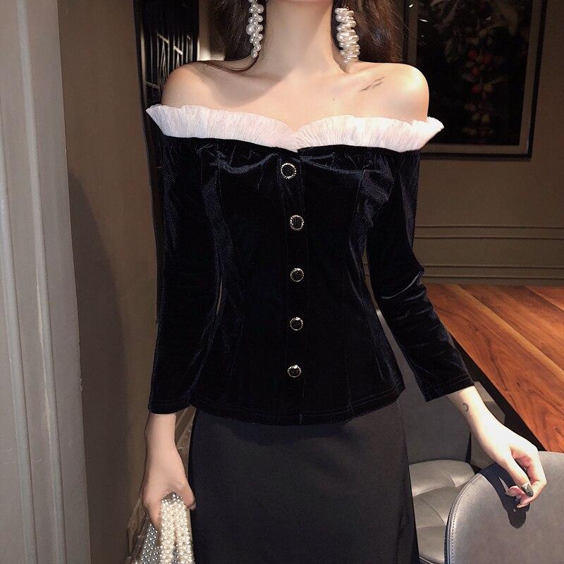 Women's Ruffled Slash Neck Buttons Velour Tube   Shirts     Blouses   Girl Full Sleeve Slim Stretchy   Blouse     Shirt   Top for Female