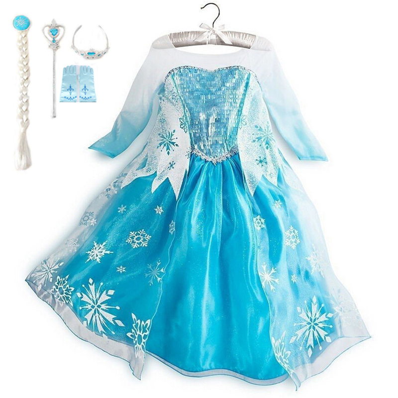 GSCH Elsa Dress +Accessories Sequins Baby Girl Snow Queen Elsa Anna Princess Dress Kids Party Cosplay Costume Deguisement Robe elsa dress sparkling snow queen elsa princess girl party tutu dress cosplay anna elsa costume flower baby girls birthday dresses