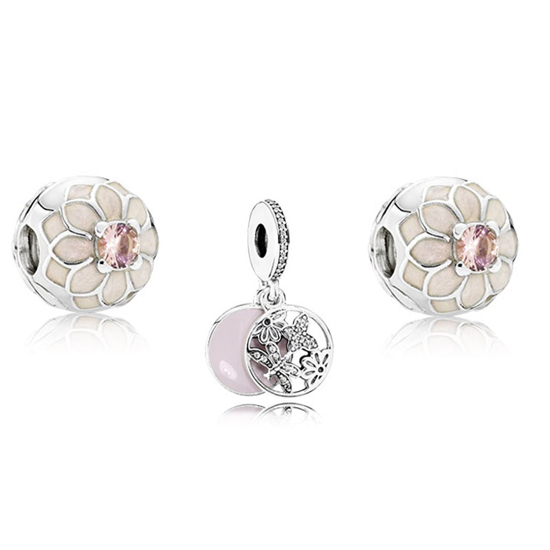 925 Sterling Silver Sets Dahlia Butterfly Charms Beads Fits European Style Charm Bracelets & Necklace for Women DIY Jewelry sterling silver 925 fits chamilia charms bracelet motorcycle sports design charm beads european style women diy jewelry