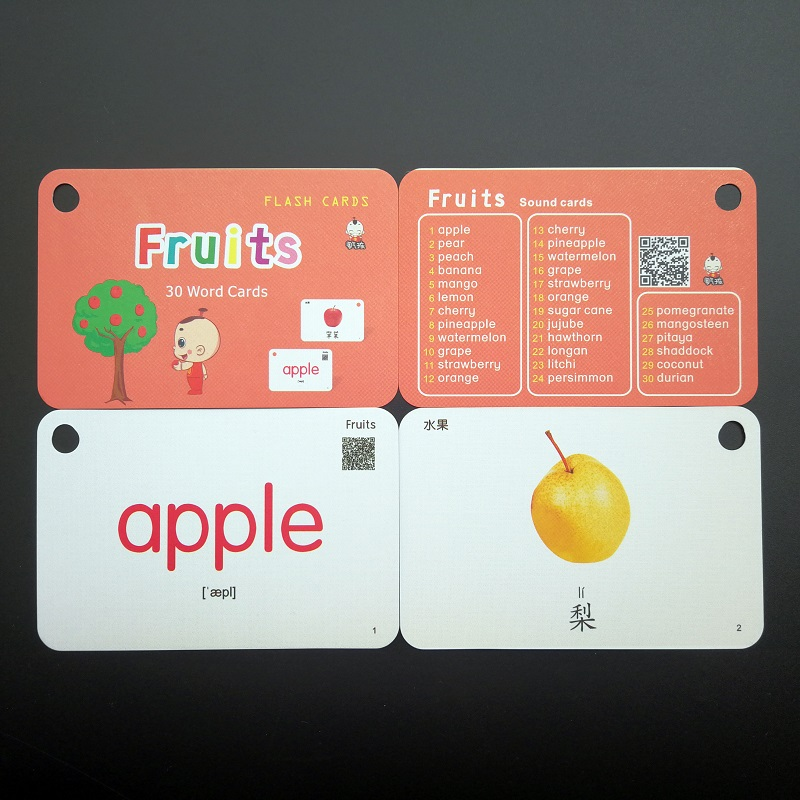 32Pcs/Set Fruits Vegetables Chinese & English Flash Cards Pocket Card  Baby Chlidren Educational Toys
