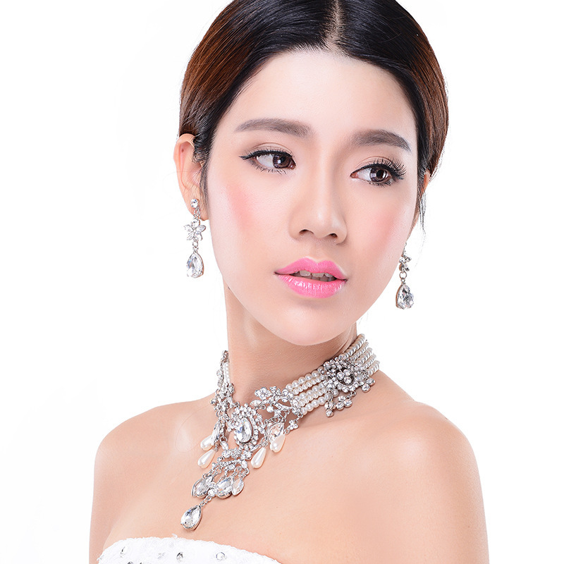 pearl crystal luxury Bridal jewelry sets pearl chocker necklace earrings wedding jewelry sets necklace earrings elegant faux pearl crystal teardrop necklace and earrings