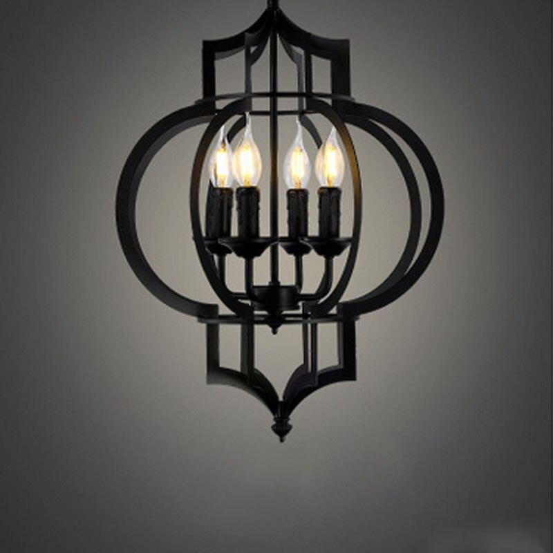Rétro Noir fer lampe salon lustre en gros creative personnalisé de fer de style Américain lampes Lanternes Suspendues éclairage