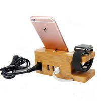 Phone Charging Dock Station For Apple Watch for Iphone X 8 7 7 Plus 6 6S Plus 5 5S Wooden Stand Holder with Charger USB Port